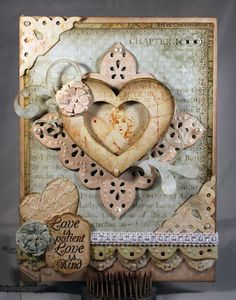 """""""LOVE"""".  I like the use of corner punches and scallops making the card lacy."""