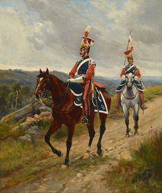 berne-bellecour, etienne prosper - Deux hussards français | Étienne Prosper Berne-Bellecour  1838-1910  Frankrijk