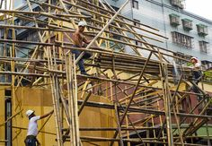Workers scaffolding with bamboo in Taipei, Taiwan. #travel #taiwan