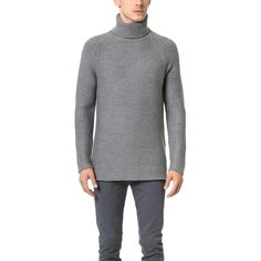 Helmut Lang Soft Grid Turtleneck Pullover (1.135 DKK) ❤ liked on Polyvore featuring men's fashion, men's clothing, men's sweaters, charcoal, mens turtleneck sweater and mens short sleeve sweater