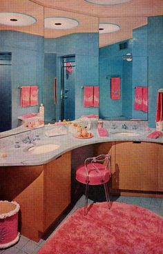 Pink and blue Bathroom design from the Better Homes & Gardens Decorating Book, Vintage Room, Vintage Decor, Retro Vintage, Vintage Homes, Vintage Barbie, Unique Vintage, Mid Century Decor, Mid Century House, Kitsch