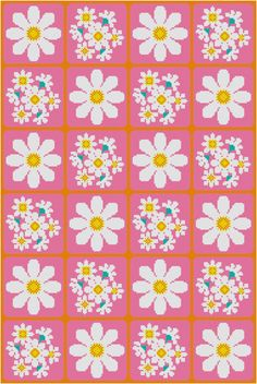 Cross Stitch Pattern, Daisies PDF. Inspired by the floral designs found on vintage fabric and wallpaper of the 1960s and 70s, this pattern would