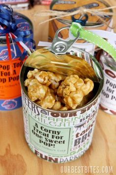 Tin Can Treats - Caramel Corn for a last minute Father's Day gift idea!
