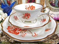 BAVARIA GERMANY TEA CUP AND SAUCER TRIO ROSES 3 FOOTED TEACUP