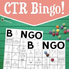 Add some fun to your Family Home Evenings or LDS church lessons with these fun CTR Bingo cards! Great for * LDS Primary Lessons * FHE * Reward Systems * And more! 10 different boards in two sizes with LDS themed graphics that relate back to righteous choices and church history. Find designs such as the Nauvoo temple, a family helping each other, and President Thomas S. Monson. Each board is 5x5 and has one free space in the middle- the CTR shield. When someone gets a Bi...