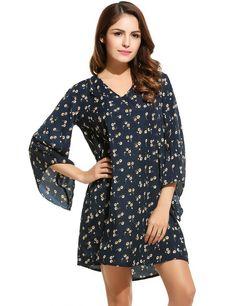 Long Sleeve Print V Neck Pullover Shift Casual Dress
