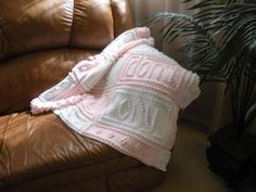 "This crocheted blanket is an original design that is easy to complete. The blanket when finished says, ""Hush little baby don't you cry. Make Blanket, Afghan Blanket, Baby Blanket Crochet, Crochet Baby, Crochet Afghans, Crochet Blankets, Crochet Chain Stitch, Bobble Stitch, Crochet Stitches"