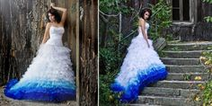 Dip-Dye Brautkleid / wedding dress ombre blue