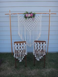 The Jane | Macrame hand crafted chair backs. Made from 100% Australian Made 3 Strand 6mm Cotton Rope. This is a simple, delicate and beautiful Macrame Chair backing that will be made especially for you. Prefect for the back of the Bride and Grooms chairs | a Bride at a Bridal Shower | a