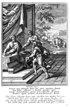 The parable of the talents, depicted in a 1712 woodcut. The lazy slave searches for his buried talent, while the two other slaves present their earnings to their master. The Talents or Minas (type: parable, Matthew Luke Images Bible, Bible Pictures, Westminster, Parable Of The Talents, Parables Of Jesus, Your Best Life Now, Matthew 25, Online Bible Study, Bible College