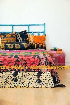 Sari Cotton kantha quilt bedspread blanket throw-Jaipur Handloom
