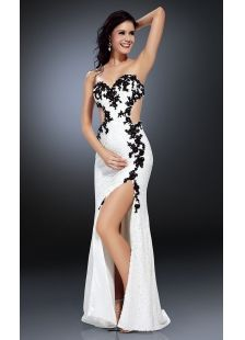 Long Black And White Prom Dresses | Sexy White Strapless Natural Prom Dress With Split Front And Backless ...