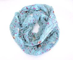 Bird Scarf Blue scarf Bird Infinity scarf Long bird by SewBirdiful