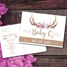 Baby Shower Invitations, Baby-Q Shower, Rustic Baby Shower, Co-ed Baby Shower, Printable Invites, Custom,Antlers, Instant Download  This listing is for a PRINTABLE two-sided Baby Shower invitation for you to print at home or print through a print shop.  This card comes as 5x7 postcard. No need for an envelope!  *Let me know if you want a different colorcheme, I can change it for you at no additional charge.  Everything is sent through email only for you to print yourself. Nothing will be…