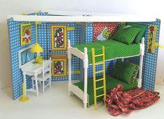 VTG 1975 Mattel Growing Up Skipper 2-in-1 Bedroom Playset w/ Original Box Barbie