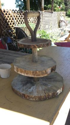 My rustic cupcake stand. Great idea using the shovel handle!