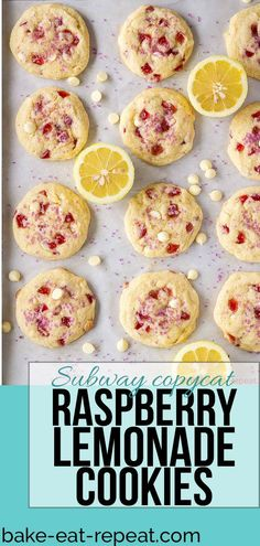These raspberry lemonade cookies are just like the ones from Subway! Soft, chewy, and filled with raspberry and lemon flavours - everyone loves them! #cookies #Subway #raspberry #lemonade #lemon