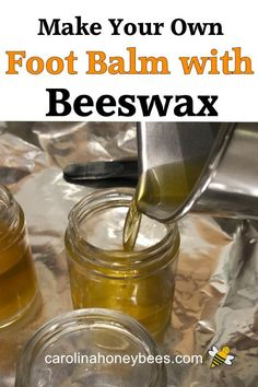 Simple ingredients you can use to make your own foot balm with beeswax. This beeswax balm will ease those dry cracked heels. Cracked Heel Balm, Dry Cracked Heels, Beeswax Recipes, Salve Recipes, Cracked Heel Remedies, Natural Beauty Recipes, Homemade Beauty Products, Bee Products, Homemade Shampoo