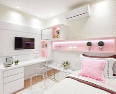 121 fantastic small apartment bedroom college design ideas and decor – page 29 Cute Bedroom Ideas, Cute Room Decor, Girl Bedroom Designs, Girls Bedroom, Bedroom Decor, Bedrooms, Bedroom Bed, Trendy Bedroom, White Bedroom