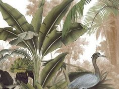 Landscapes - Panel at blue heron cm - 2 là © s to 100 cm - Ultra Matte Illustration Botanique, Botanical Illustration, Illustration Art, Tropical Art, Tropical Leaves, Wall Wallpaper, Pattern Wallpaper, Blue Heron, Jungle Art