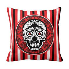 Red Black and white sugar skull style design Pillows