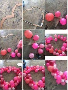 Möchten Sie ein tolles Foto haben? Dann brauchen Sie eine schöne Deko. Sie können selber ein großes Herz aus Luftballons basteln! Das geht ganz einfach.