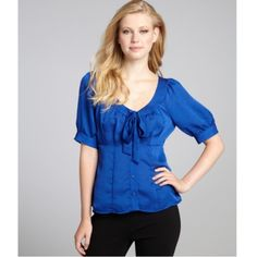 d8f2c57f635582 Nanette Lepore Textured Tie Neck Blouse Electric blue