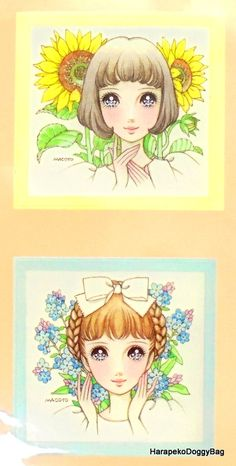 Kawaii illustration of girls with flowers. This is from a sticker sheet released in the 2000s for a Macoto Takahashi Japanese shojo art exhibition in Tokyo, Japan.