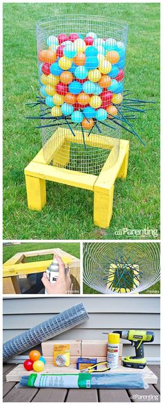 DIY Projects - Outdoor Games - DIY Giant Backyard KerPlunk Game Tutorial - fun for barbecues - cookouts - backyard birthday parties DIY Tutorial via allParenting #backyardgames #diyoutdoorgames #barbecuegames #barbecueideas #backyardpartygames #partygames #outdoorgames #diygames #yardgames #diyyardgames #summergames #summerparty #party #kerplunk #giantkerplunk #4thofJuly #fathersday #cookoutgames