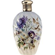 c.1910 Floral Decorated Porcelain Scent Perfume Bottle, Plate Top