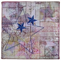 "Americana V, 12x12"" quilted art on canvas by Kristin La Flamme."