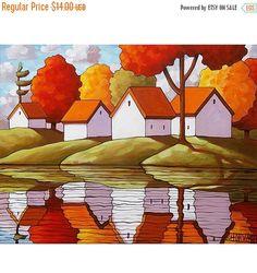 Art Print Sale Art Print 5x7 Folk Giclee Autumn by SoloWorkStudio