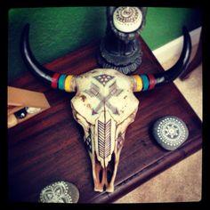 Hand-Painted Boho Cow Skull