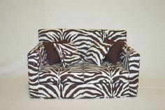 Doll Sofa - Zebra Print Dark Brown Modern Handmade 18 inch American Girl Doll Furniture