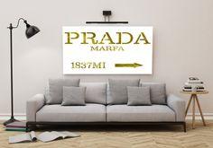 Printable art PRADA MARFA GOLD print,Fashion print,Fashion art,wall decor,poster print,fashion decor,home decor,Golden Fashion print,decor von sweetandhoneyprints auf Etsy