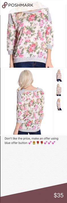 Floral sweater Grey and cream floral printed french terry sweater. Super cute item! Nwot from vendor, all offers made through BLUE offer button considered . Special discount for bundling multiple items 😀.                                                       🚫PayPal or off site transactions 🚫modeling ( I'm busy with school and don't have time 🚫trades (askers will be ignored) or lowballing ( you will be blocked) ✅ will consider offers made through BLUE offer button ✅ great bundle discount…