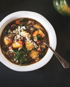 bean and acorn squash soup with kale gruyere parsley pistou bean and ...