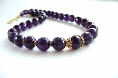 Amethyst Necklace Gemstone Jewelry Faceted Gold by MariesGems, $90.00