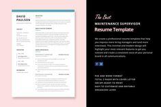 Maintenance Supervisor Resume by Elissa Bernandes on @creativemarket