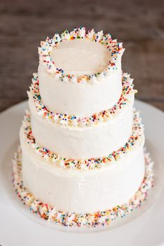 Tiered Sprinkle Cake - like the idea of the sprinkles around edge of a cake. Going to try soon.