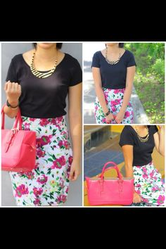 Pink floral skirt, black tee, pink handbag. Modest spring fashion