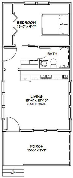 16x30 Tiny House -- #16X30H2 -- 480 sq ft - Excellent Floor Plans
