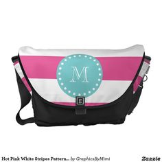 Hot Pink White Stripes Pattern, Teal Monogram