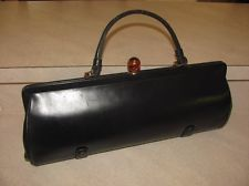BEAUTIFUL VINTAGE RETRO 1950s BLACK LEATHER ROSART HANDBAG PURSE LUCITE KNOB