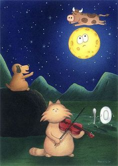 Hey diddle diddle the cat and the fiddle, the cow jumped over the moon, the little dog laughed to see such sport and the dish ran away with the spoon : ) Hey Diddle Diddle, Moon Illustration, Ecole Art, Good Night Moon, Nighty Night, Moon Magic, Beautiful Moon, Moon Art, Moon Child