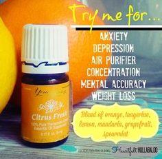 Young Living's Citrus Fresh.  Try me foranxiety, depression, air purifier, concentration, mental accuracy, weight loss.  Blend of orange, tangerine, lemon, mandarin, grapefruit, spearmint.  Heartfelt Hullabaloo