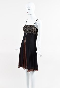 Sue Wong Black & Brown Silk Embellished Dress