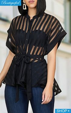 - Striped See Through Buttoned Tied Waist Shirt Classy Dress, Classy Outfits, Stylish Outfits, Work Outfits, Look Fashion, Fashion Outfits, Fashion Clothes, Net Blouses, Latest African Fashion Dresses