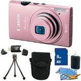 Canon PowerShot ELPH 110 HS 16.1 MP CMOS Digital Camera with 5x Optical Image Stabilized Zoom 24mm Wide-Angle Lens and 1080p Full HD Video Recording Pink Premiere Bundle With 8 GB Secure Digital High Capacity (SDHC) Memory Card, Digpro Compact Camera Case