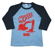 Personalized 3/4 sleeves Birthday Digger by FreshFrogTees on Etsy